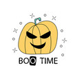halloween boo time with scary pumpkin vector image vector image