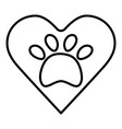 heart with paw print pet vector image