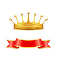 heraldic symbols golden crown and silk ribbon vector image