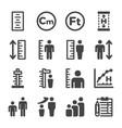 human height icon set vector image