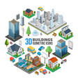 isometric city landscape round concept vector image vector image