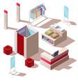 isometric fashion store interior vector image vector image