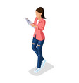 isometric girl young people gadgets vector image