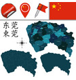 map of dongguan with divisions vector image vector image
