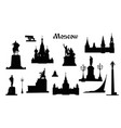 moscow city symbol set russia tourist landmark vector image