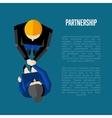 Partnership banner Top view partners handshaking vector image vector image