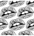 pattern with surreal lips made in hand drawn vector image