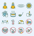 prevention covid-19 line icons set vector image