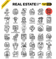 real estate line icon set vector image