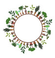round frame home flowers in pots vector image vector image