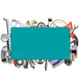 rusty billboard with car parts vector image vector image