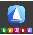 Sail boat yacht icon flat web sign symbol logo vector image vector image