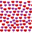 Seamless funny and cute pattern with red and vector image