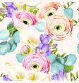 seamless pattern with calla and ranunculus vector image vector image