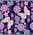 seamless pattern with flowers floral elements and vector image vector image