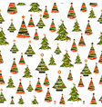 seamless pattern with xmas trees vector image vector image