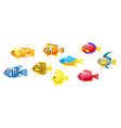 Set cartoon funny fish characters colorful