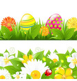 Set Of Borders With Grass And Color Eggs vector image vector image