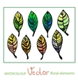set watercolor stylized leaves vector image