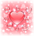 Shimmering background with glassy hearts for vector image