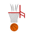 side view of a basketball ball on a net vector image vector image