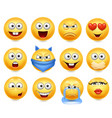 smileys set smiley faces vector image vector image