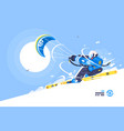sporty boy snowkiter on alpine skiing vector image