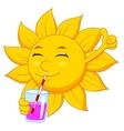 Sun cartoon character drinking vector image vector image