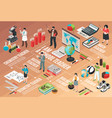 teachers and school isometric flowchart vector image vector image