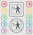 Tennis player icon sign symbol on the Round and vector image vector image