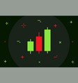 trading candle stick diagram flat minimal style vector image vector image