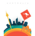 travel australia 3d paper cut world landmarks vector image vector image