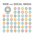 web and social media icons set on colored buttons vector image vector image