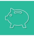 white outline piggy bank with shadow vector image vector image