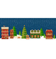 winter christmas landscape with houses vector image vector image