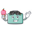 with ice cream suitcase character cartoon style vector image