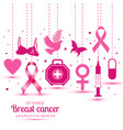 with icons of breast cancer for vector image vector image