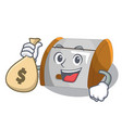 with money bag cartoon container bread bin in vector image vector image