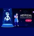 woman scientist in front panda robot neon banner vector image