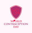 world contraception day with shield in flat style vector image vector image