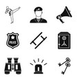 officer icons set simple style vector image