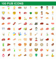 100 pub icons set cartoon style vector image vector image