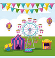 amusement park with tents circus vector image