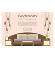 banner of a bedroom design with furniture and vector image vector image