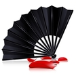 black fan and red petals vector image vector image