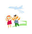 boy and girl at airport vector image