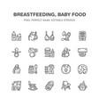 breastfeeding baby food flat line icons vector image