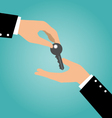Business hand giving a key to another hand vector image vector image