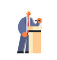 businessman talking into microphone business man vector image vector image