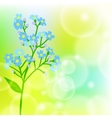 Card with forget me not flower on sun light vector image